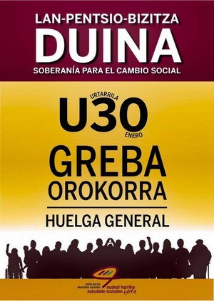 Cartel de la convocatoria de Huelga General