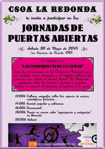 CARTEL - Jornada Puertas Abiertas CSOA La Redonda - 30 mayo 2015 (566x800)