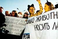 protesta contra las pieles