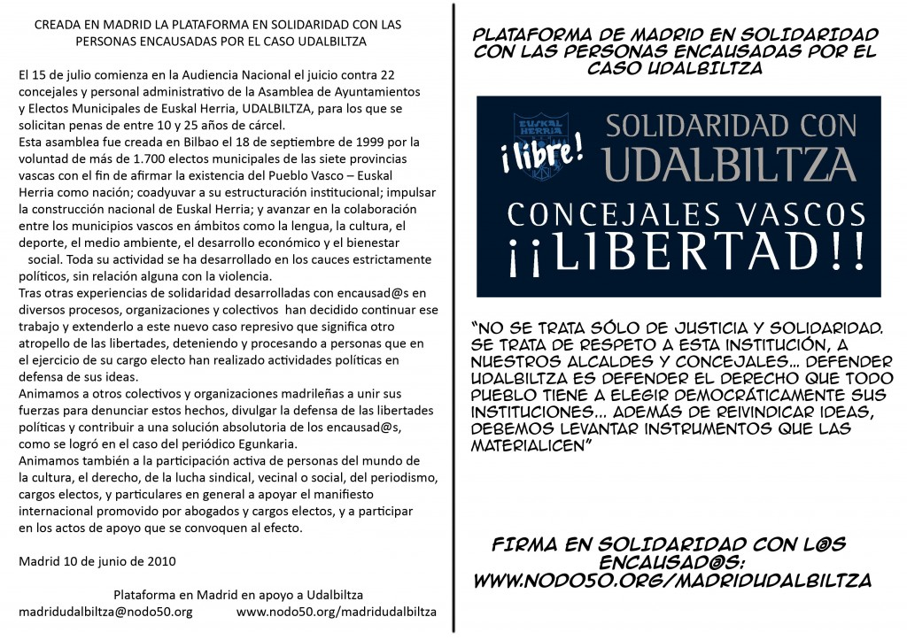 Creada en Madrid la Plataforma en Solidaridad con los procesados por el caso Udalbiltza